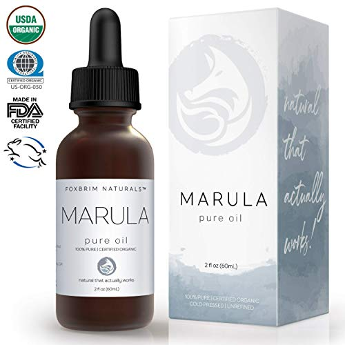 Face Marula - Organic Marula Oil - 100% Pure - 2 OZ Bottle - USDA Certified - Cold Pressed - For Skin, Hair & Nails - Anti Aging, Moisturizing & Healing - by Foxbrim Naturals