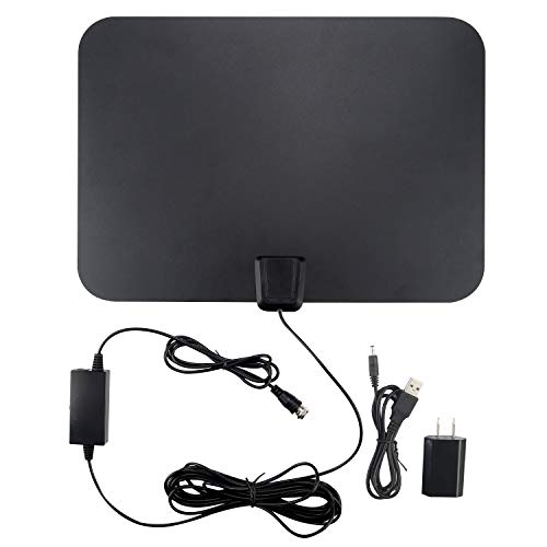 TV Antenna 4K Smart TV Antennas indoor 60 Mile Range 16.5FT Coaxial Cable with Detachable Amplifier Signal Booster Local Broadcast HD VHF UHF Signal Channels for Home Smart Television Black
