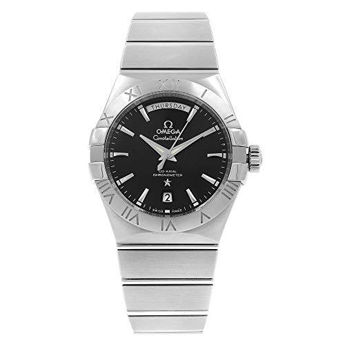 Omega Constellation Day Date Automatic Black Dial Stainless Steel Mens Watch 123.10.38.22.01.001