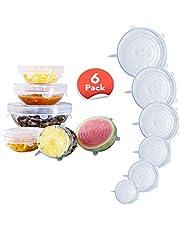 6 قطع من أغطية تخزين الطعام، أغطية مطاطية من السيليكون، معيار LFGB وقادر على التمدد لتناسب أشكال مختلفة من الحاويات، والأطباق، آمنة في غسالة الصحون، الميكروويف والمجمد، نمط الابتسام، شفاف