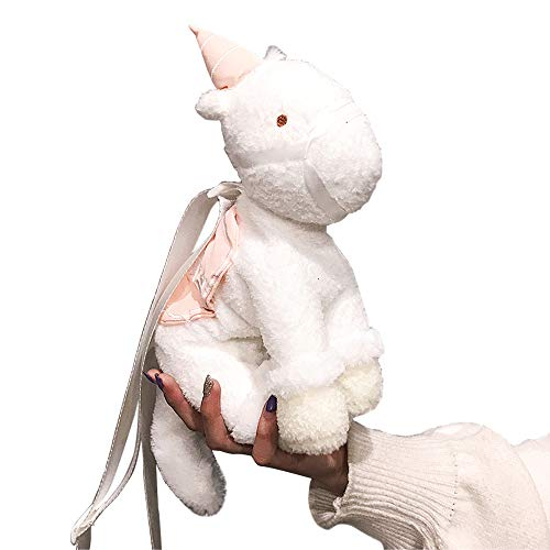 Soft Adorable Plush (Unicorn Plush Shoulder Bag - Cute, Fancy and Adorable Purses with Peal White Plush Cuddly, Soft Fabric Purses with Adjustable Shoulder Straps and Zipper Closure for Girls, Woman or Gift)
