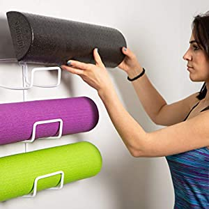 Wallniture Wall Mount Yoga Mat Foam Roller and Towel Rack Holder for Your Fitness Class or Home Gym, Wrought Iron, 3-Sectional, 16 Inch, White