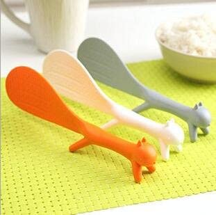 4 Pieces Creative Household Kitchen Tools Lovely Squirrel Shape Standing Spoon Non Stick Rice Paddle Spoon