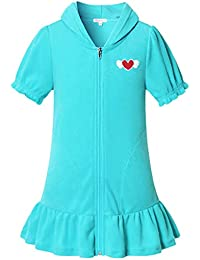 QPANCY Girl Terry Hooded Swim Cover-Up Zip Cover Up Swimsuit Summer Short Sleeve