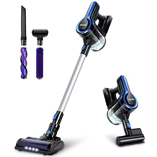 Cordless Vacuum, 20KPa Max Suction Stick Vacuum Cleaner, 4-in-1 Lightweight Handheld Vacuum and LED Headlights Brush, Powerful Dust and Pet Hair Cleaning, Ideal for Carpet, Hard Floor, and Car