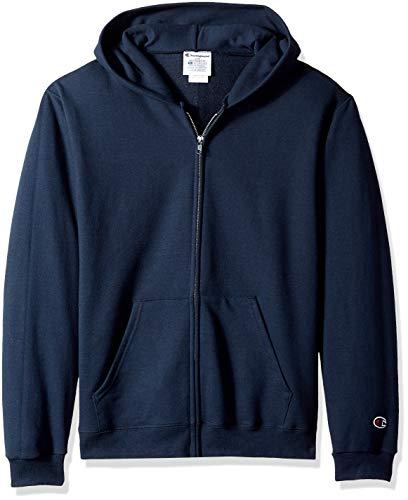 (Champion Big Boys' Double Dry Fleece Full Zip Hooded Sweatshirt, Navy)