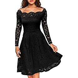 37ab59ae3f1c MissMay Women s Vintage Floral Lace Long Sleeve Boat Neck Cocktail Formal  Swing Dress