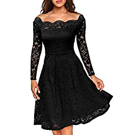 MIUSOL Women's Off Shoulder Long Sleeve Lace Evening Dress