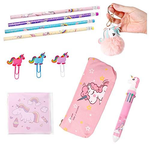 Unicorn Stationary Gift Set for Girls, Unicorn School Supplies with Unicorn Pom Pom Keychain, Unicorn Pen, Pencils, Stickers, Paper Clips, and Unicorn Pencil Case