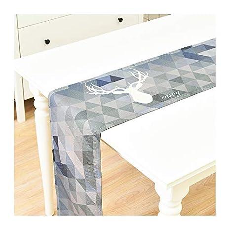 Navidad Camino de mesa algodón alce Diseño Camino de mesa gris ...