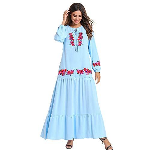 HYIRI MyBatua Abaya Women's Printed Flower Jilbab Islamic Clothing Maxi Muslim Dress Light Blue]()