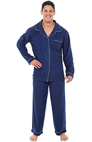 Alexander Del Rossa Mens Fleece Pajamas, Long Button-Down Pj Set, Small Midnight Blue (A0327MBLSM) by Alexander Del Rossa