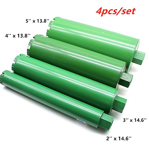 Wet Diamond Core Drill Bit Set 2″ 3″ 4″ 5″ for Brick Concrete Block Granite Drilling Coring (4pcs/set)