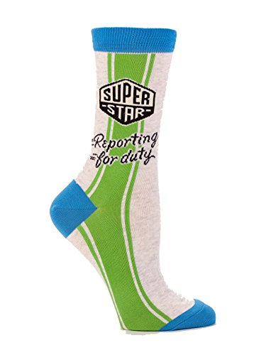 Blue Q Socks  Womens Crew  Super Star Reporting For Duty