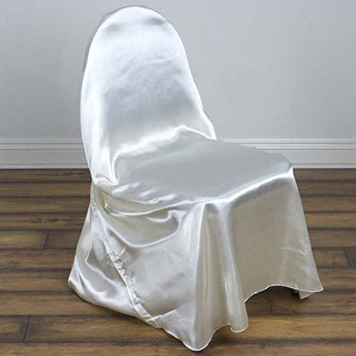 Efavormart 100 PCS Ivory Silky Satin Universal Chair Covers Fits All Type of Chairs Event Dinning Slipcover for Wedding - Type Event