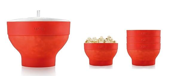 Lékué XL Popcorn - Set para microondas con un molde de silicona y 4 boles colapsables, color rojo