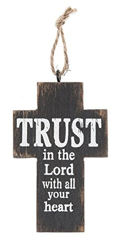 "Ganz 2.25"" x 3.5"" Wood Cross with Individual Painting Blessing (Trust in the lord with all your heart)"
