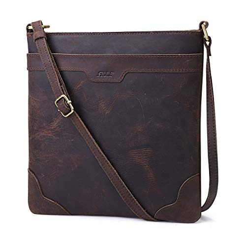S-ZONE Lightweight Vintage Genuine Crazy Horse Leather Shoulder Bag Purse Crossbody Slim Bag(Dark Brown)