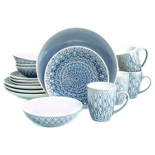 Euro Ceramica PK-18505GRY Peacock Dinnerware Set, 16Piece, G