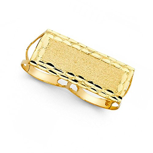 Solid 14k Yellow Gold Two Finger Nugget Ring Hip Hop Style Band Textured Finish Men 17MM Size 12 by GemApex