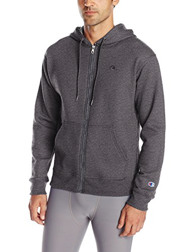 Champion Men's Powerblend Full Zip Hoodie, Granite Heather,