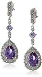 Sterling Silver Gemstone and Created White Sapphire Drop Earrings