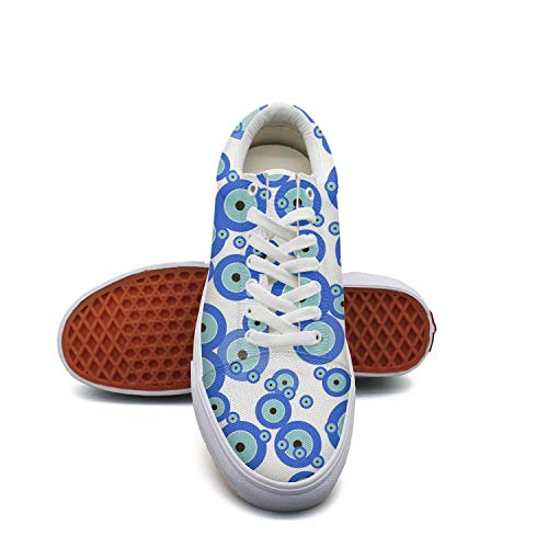fvnoui Girlblue Eye Symbol Evil Eye Canvas Shoes Low-Cut Straps Comfortable Round Sneakers Suitable for Walking -