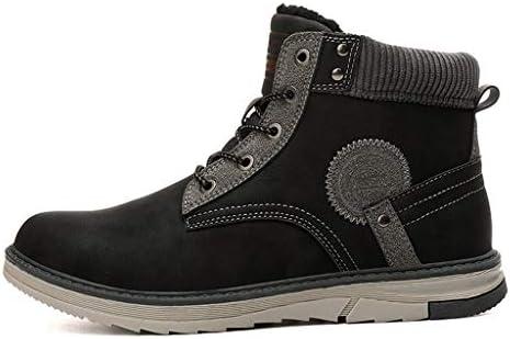 冬のメンズ暖かい雪のブーツは、滑りにくい人工レザーレースアップカジュアルスポーツシューズプラスベルベット快適な耐摩耗性黒 (色 : 黒, サイズ : 25.5 CM)