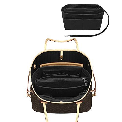 LEXSION Felt Purse Insert Handbag Organizer Bag in Bag Organizer with Handles Holder 8021 Black XL ()