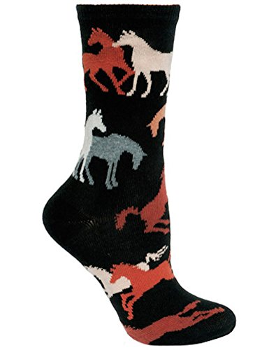 Wheel House Designs - Horses on Black Socks - 9-11 made in New England
