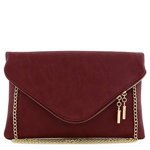 Burgundy Clutch - Large Envelope Clutch Bag with Chain Strap (Burgundy)