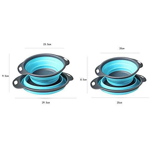 Collapsible Silicone Colander 2 PCs/Set Folding Kitchen Strainer Fruit Vegetable Strainer Kitchen Accessories (Blue)