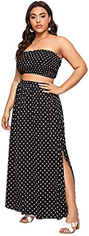Floerns Women's 2 Piece Outfit Polka Dots Crop Top and Long Skirt Set with Poc