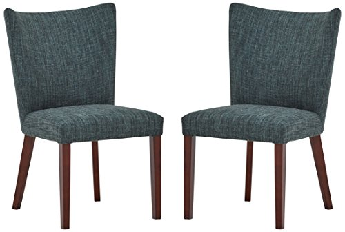 Amazon Brand – Rivet Tina Mid-Century Modern Curved Back Kitchen Dining Room Table Chairs, 25″W x 36″H, Marine Blue, Set of 2
