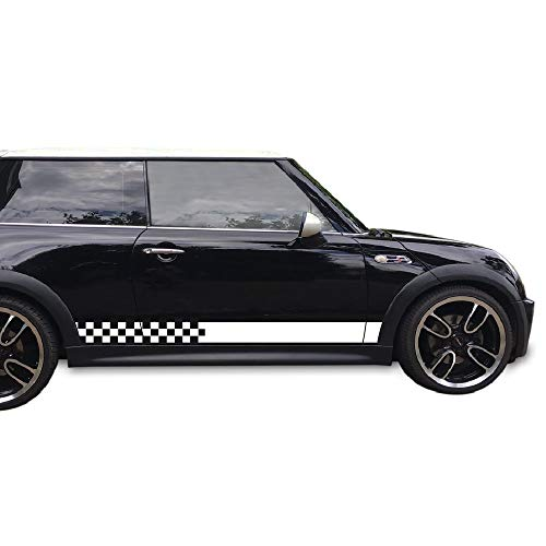 Bubbles Designs Set of Sport Checkered Flag Side Stripes Decal Sticker Vinyl Compatible with Mini Cooper Hatchback Hardtop All Models