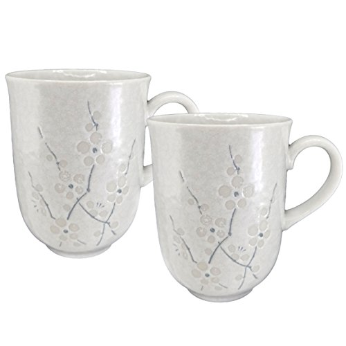 Happy Sales HSTM-WHCH2, Japanese Tea Mugs, Teacups, Coffee Mugs, Set of 2 pc, White Cherry Blossom