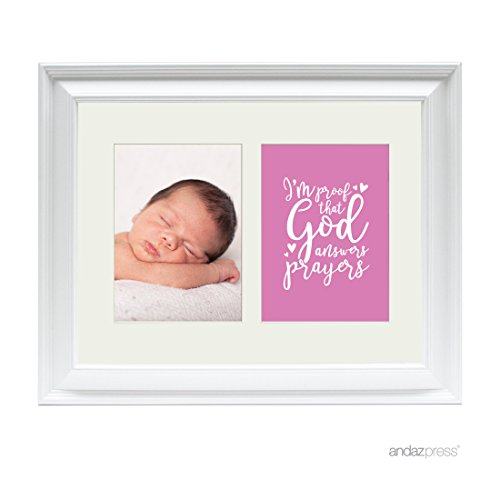 Andaz Press Double White 5x7-inch Photo Frame, I'm Proof That God Answers Prayers, Girl, 1-Pack, Picture Gift Wall Art ()