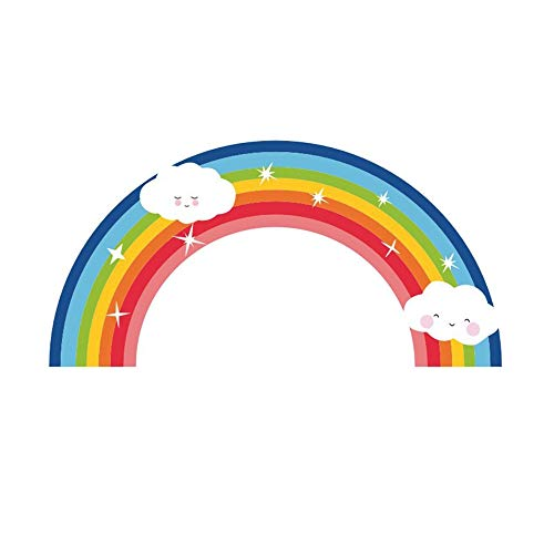 2 Packs Star rainbow cloud wall stickers, children's room children's bedroom living room self-adhesive removable decorative stickers wallpaper, 38cm × 19cm ()