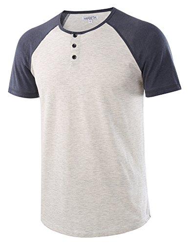 Cotton Jersey Henley (HARBETH Men's Casual Short Sleeve Henley Shirt Raglan Fit Baseball T-Shirts Tee H.Oatmeal/C.Blue L)
