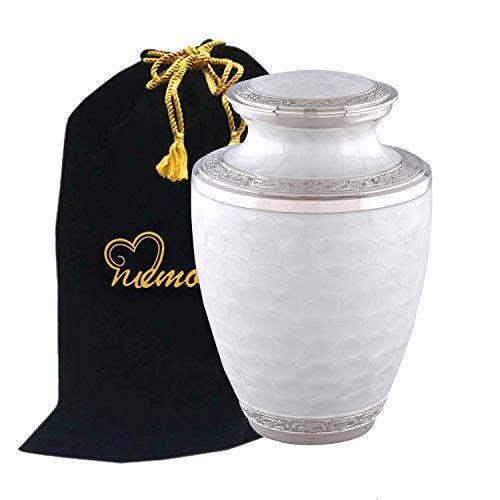 (MEMORIALS 4U Elegant Pearl White & Silver Cremation Urn - Large Solid Brass Everlasting Love Cremation Urn - Premium Quality Adult Silver Pearl White Cremation Urn for Human Ashes with Velvet Bag)