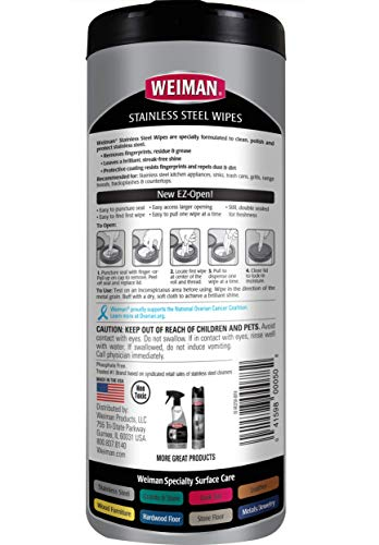 Weiman Stainless Steel Cleaner Wipes (2 Pack) Fingerprint Resistant, Removes Residue, Water Marks and Grease from Appliances - Works Great on Refrigerators, Dishwashers, Ovens, and Grills - Packaging May Vary
