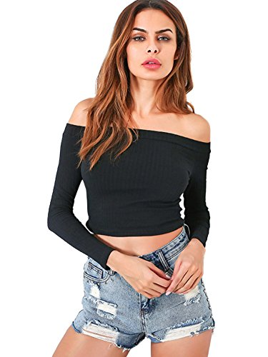 Verdusa Women's Off Shoulder Slim Long Sleeve Ribbed Bardot Crop Top Black M