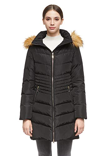 Orolay Women's Down Coat with Removable Faux Fur Hood Black XL (Best Faux Fur Coats On The High Street)