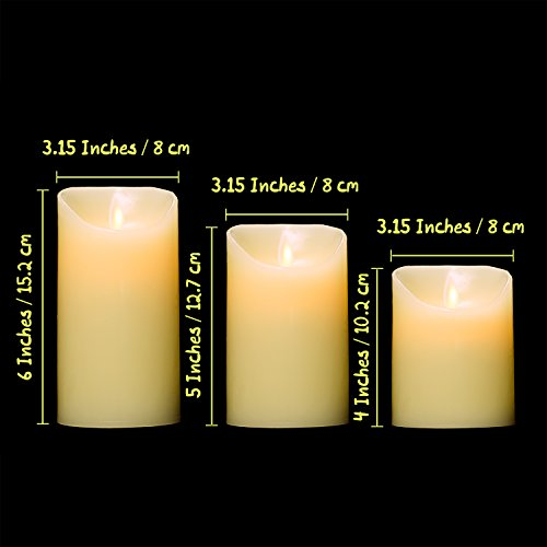 Flameless Candles, TEECOO Flickering LED Candles Φ3.15'' x H 4'' 5'' 6'' Set Of 3 Real Wax Pillar Not Plastic With 10-key Remote Control Timer 300+ Hours (3, Ivory) by TEECOO (Image #1)'