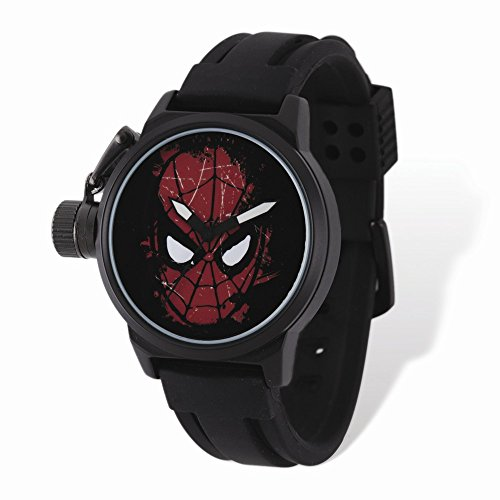 Marvel+Watches Products : Marvel Adult Size Spiderman Face Black-plated Left Hand Watch