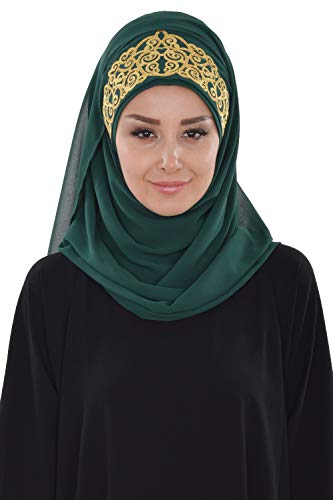 Shawl for Women Chiffon Modesty Turban Cap Head Wrap Instant Scarf DGreen