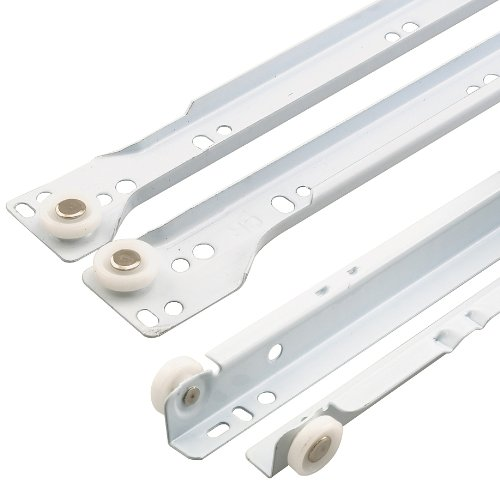 Prime-Line R 7211 Drawer Slide Kit - Replace Drawer Track Hardware - Self-Closing Design -Fits Most Bottom/ Side-Mounted Drawer Systems -17-3/4