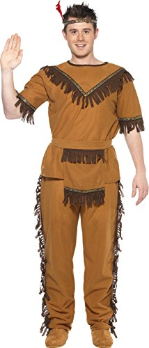Smiffy's Men's Indian Brave Costume, Top, pants, Belt and Headband, Western, Serious Fun, Size L, (Indian Mens Costume)
