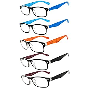 Readers 5 Pack of Elegant Womens Reading Glasses with Beautiful Patterns for Ladies Deluxe Spring Hinge Stylish Look 180 Day Guarantee +2.75