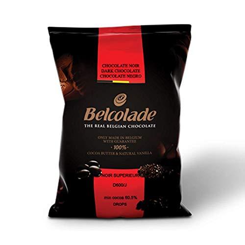 Belcolade Belgian Chocolate - Dark Bitter-sweet Chocolate Discs, Noir Superieur, 60.0% Cocoa, 11 Lb./5kg. Bag by Belcolade